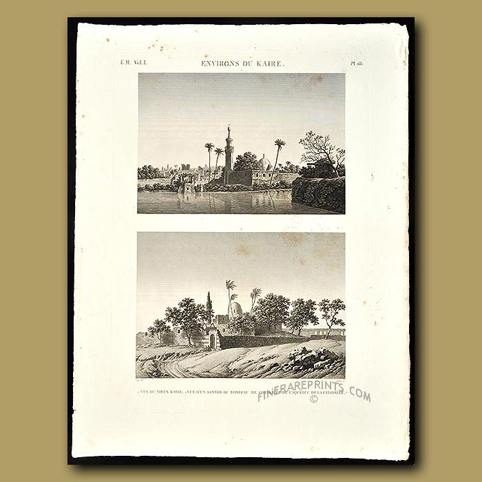 Antique print. View of the old Cairo and a tomb and aquaduct of the citadel