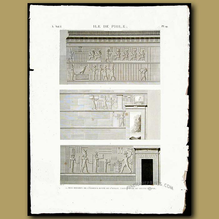 Antique print. Bas reliefs of the western ruins and sculptures of the Grand Temple