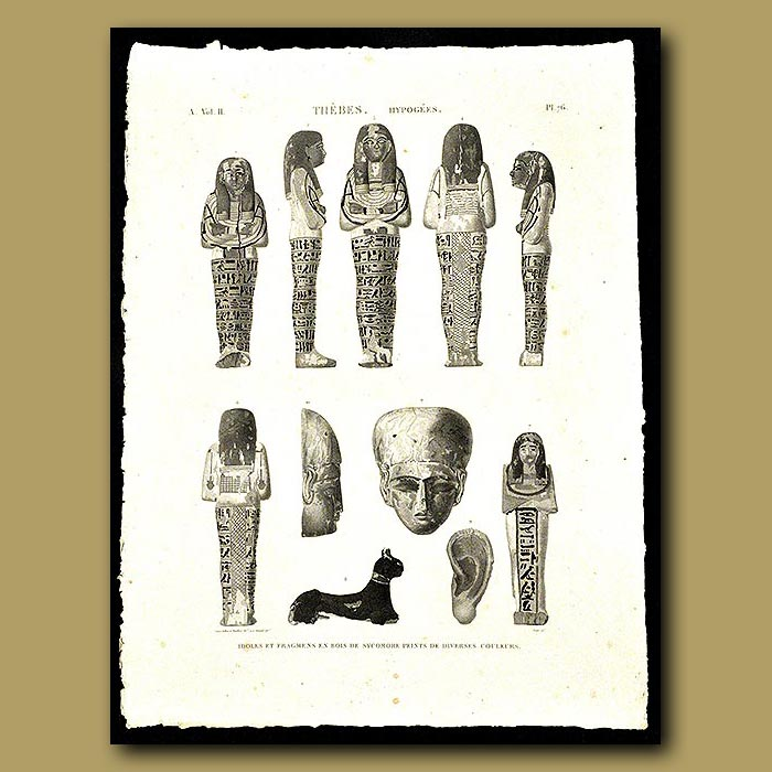 Antique print. Idols made of Sycamore wood