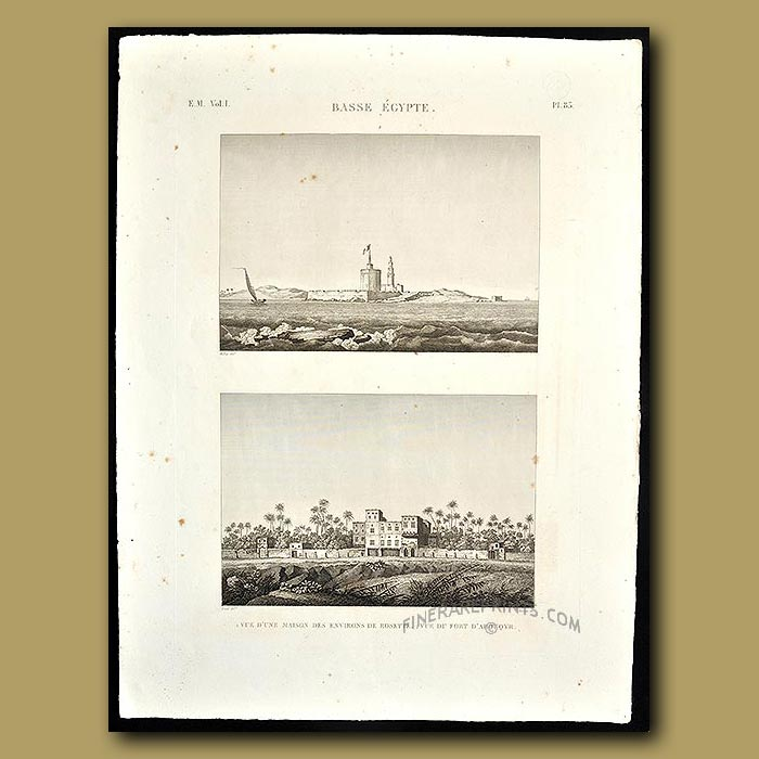 Antique print. Views of a house and fort in Lower Egypt