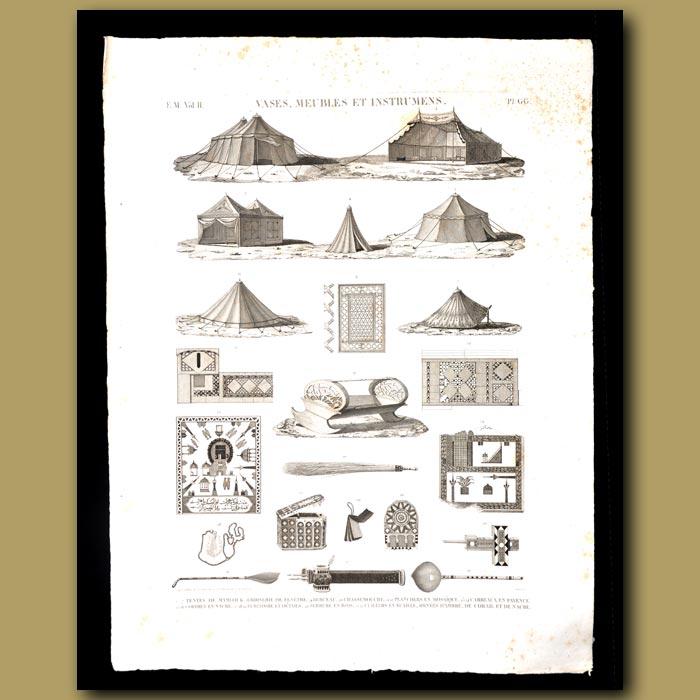 Antique print. Mamalouk Tents