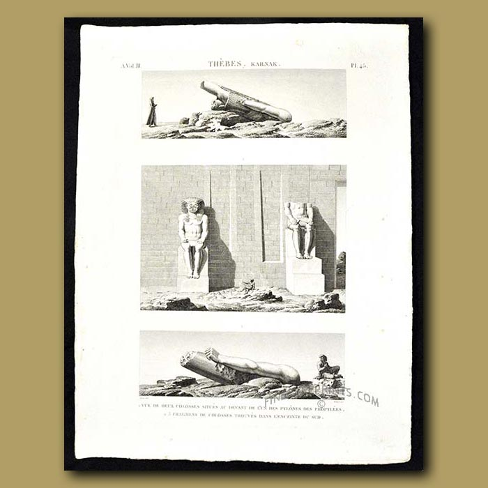 Antique print. Two colossal statues and fragments found on the ground