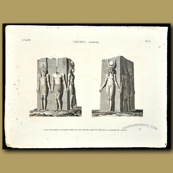 Antique print. Six figures carved from granite found in the Palace Gallery