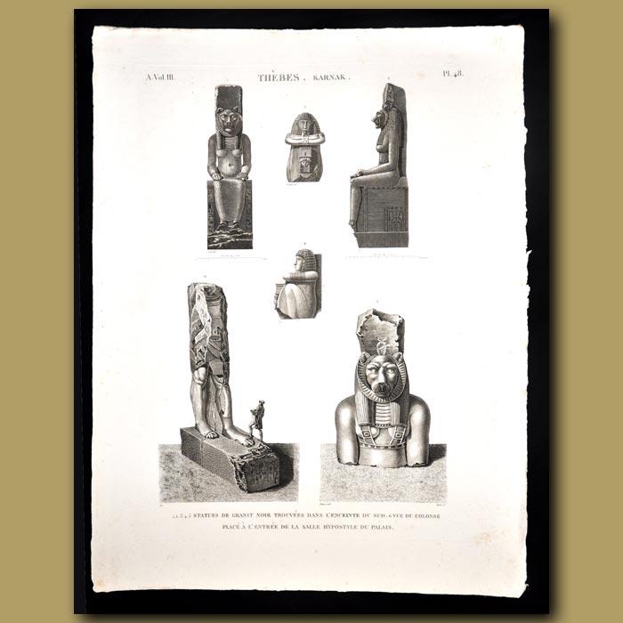 Antique print. Granite statues from Karnak