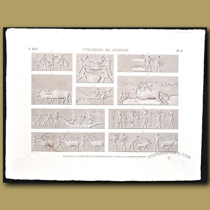 Antique print. Bas-relief sculptures on the tombs of the second Pyramids