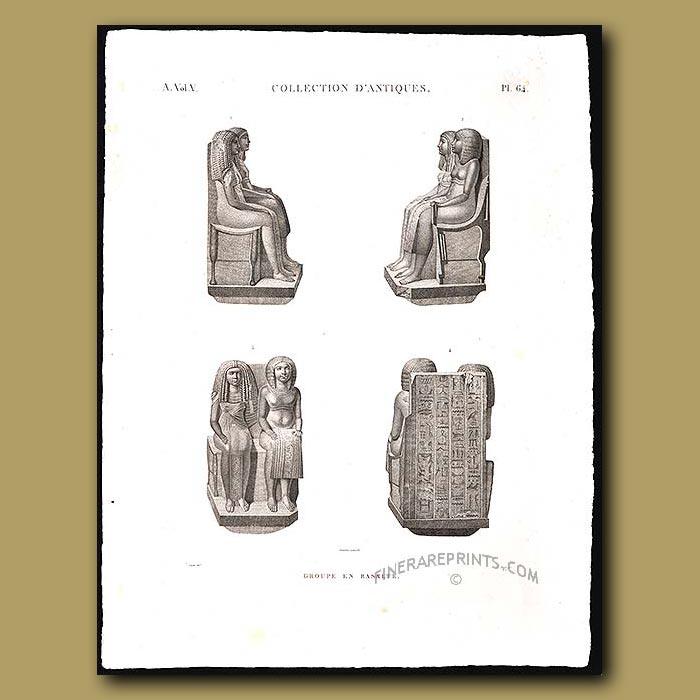 Antique print. Groups of Basalt figures