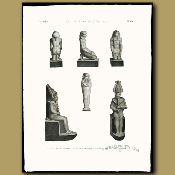 Antique print. Ancient figures in bronze, basalt and clay
