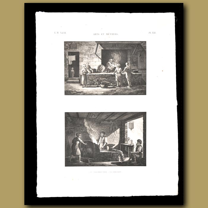 Antique print. Blacksmith and Boilermaker
