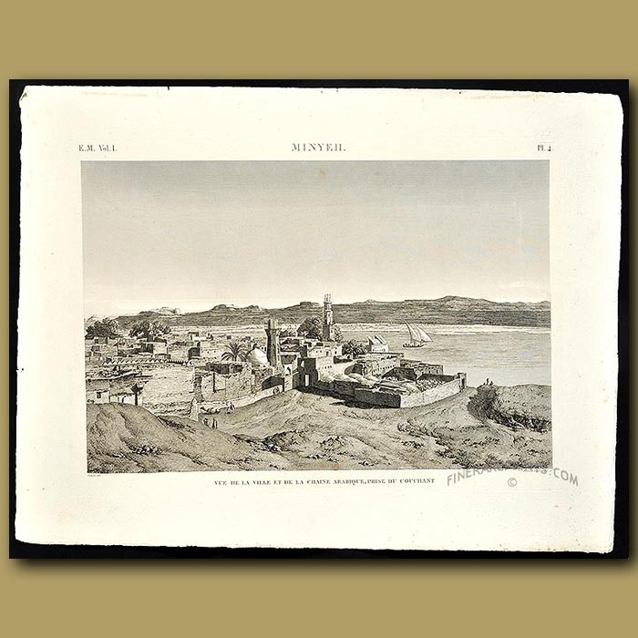 Antique print. View of the cityof Minyeh (now spelt Minya) on the western banks ofr the river Nile