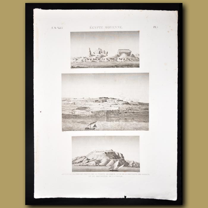 Antique print. Views of the mountains and a monastery