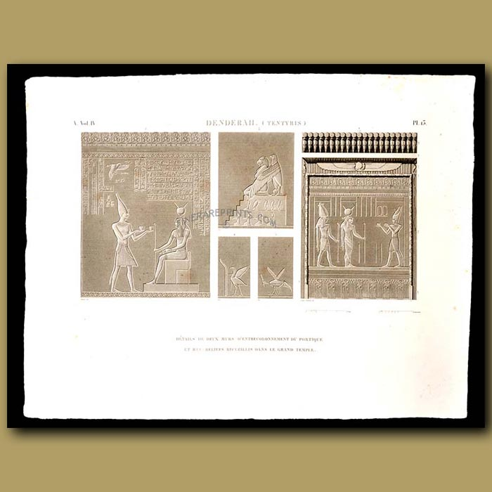Antique print. Detail of the frieze of the facade of the portico of the great temple