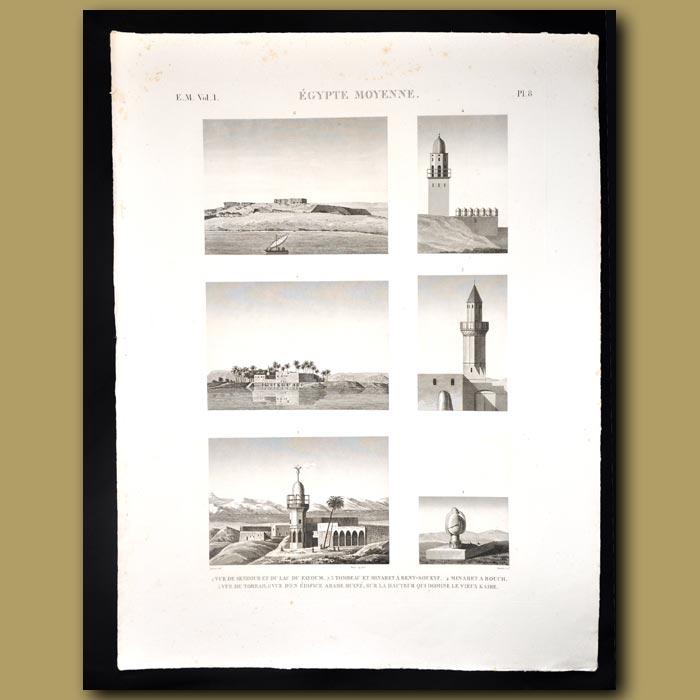 Antique print. Egyptian minarets