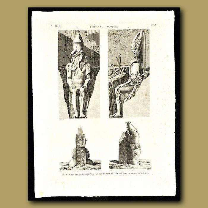 Antique print. Oriental and Western Colossus from the Palace
