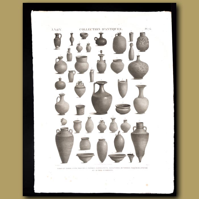 Antique print. Urns and Vases