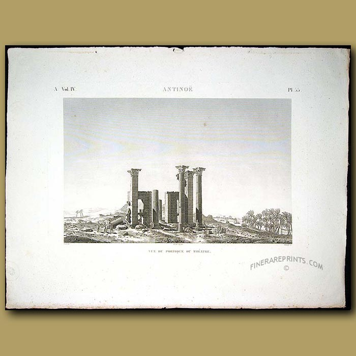 Antique print. View of the portico of the theatre