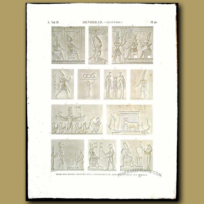 Antique print. Bas relief designs from inside the apartment of the zodiac and temples