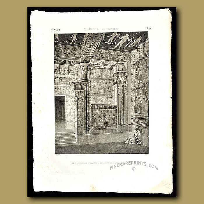 Antique print. Interior of the West Temple. Has a superb ceiling covered in stars