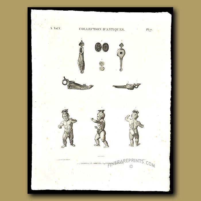 Antique print. Lamps and Bronze figures with smal grave stones