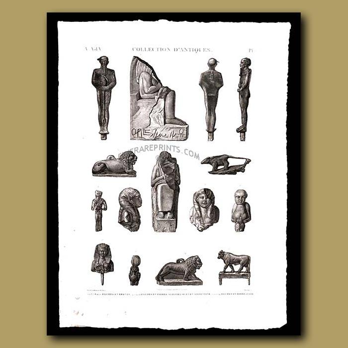 Antique print. Figures in bronze and terra cotta