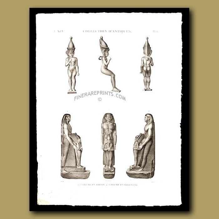 Antique print. Figures in bronze