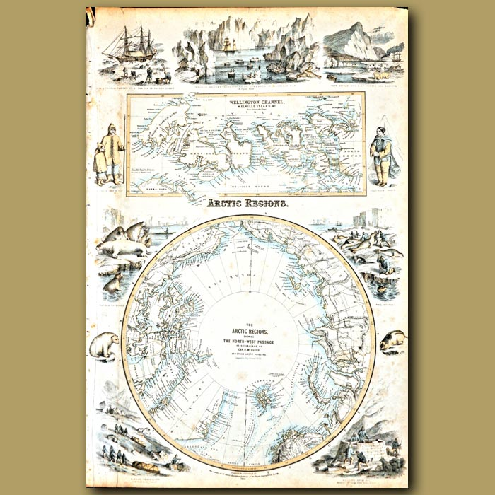 Antique print. Map Of The Arctic Regions Showing The North West Passage
