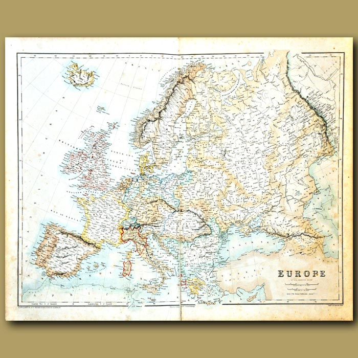Antique print. Map Of Europe