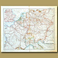 Map Of Central Europe With The Railways