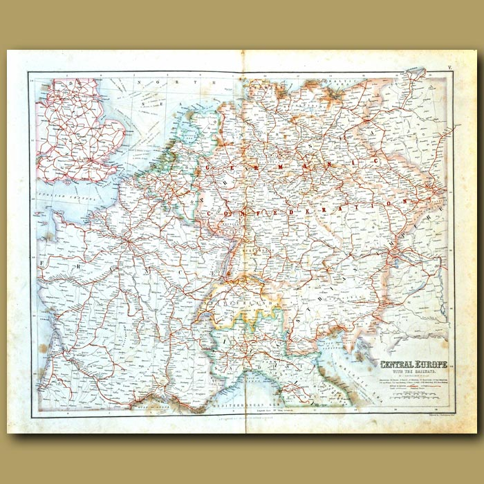 Antique print. Map Of Central Europe With The Railways