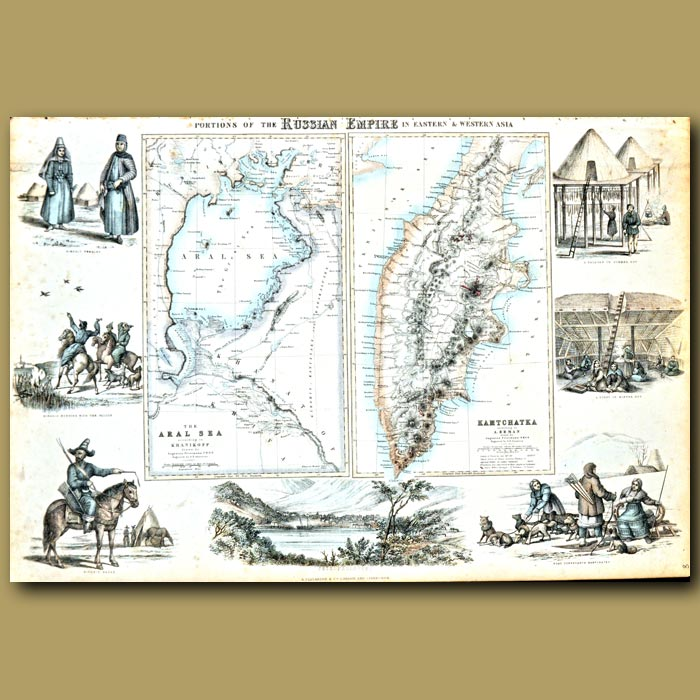 Antique print. Map Of Portions Of The Russian Empire In Eastern And Western Asia