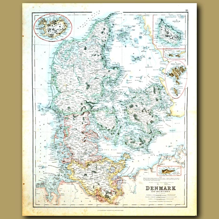 Antique print. Map Of Denmark