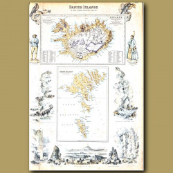 Map Of Danish Islands In The North Atlantic Ocean: Iceland And Faeroes