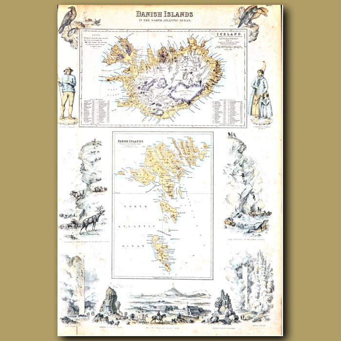 Antique print. Map Of Danish Islands In The North Atlantic Ocean: Iceland And Faeroes