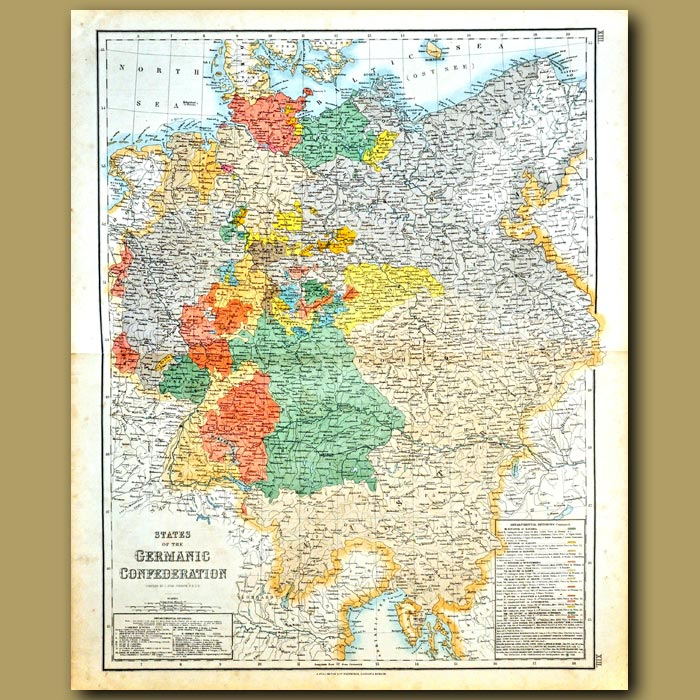 Antique print. Map Of The States Of The Germanic Confederation