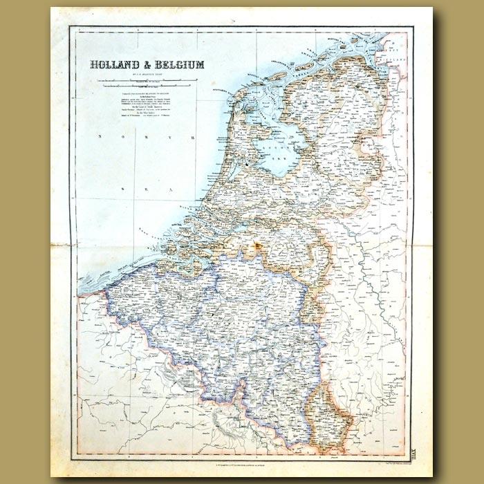 Antique print. Map Of Holland And Belgium