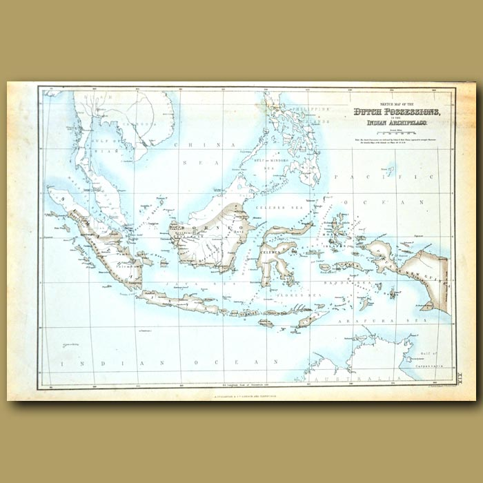 Antique print. Map Of Dutch Possessions In The Indian Archipelago