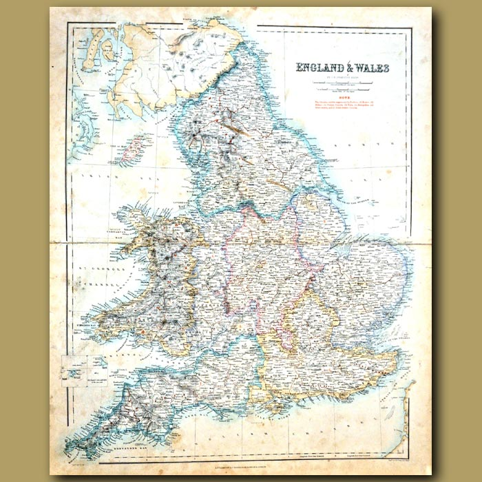 Antique print. Map Of England And Wales