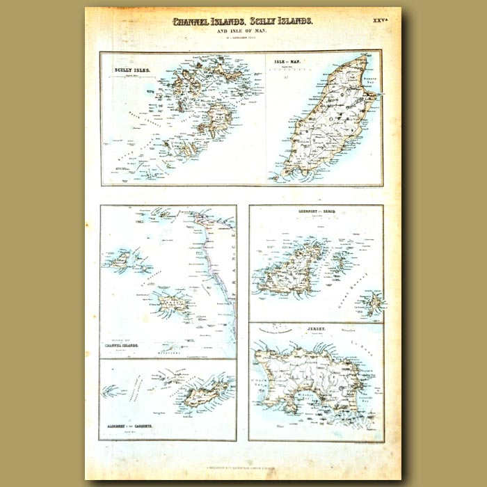 Antique print. Map Of Channel Islands, Scilly Islands And Isle Of Man