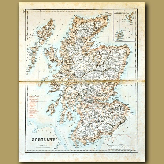 Antique print. Map Of Scotland