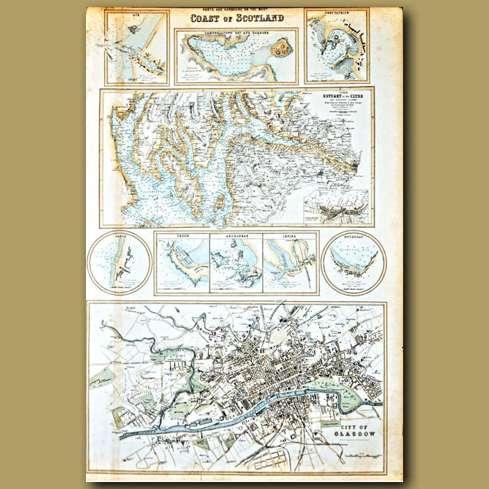 Antique print. Map Of Ports And Harbours On West Coast Of Scotland