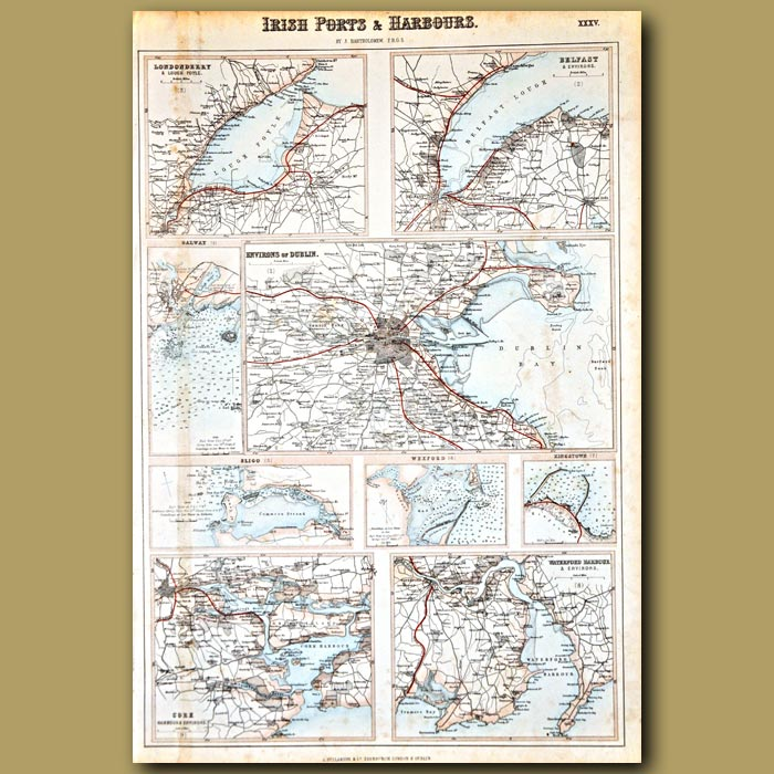 Antique print. Map Of Irish Ports And Harbours
