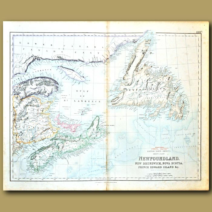 Antique print. Map Of Canada Around Gulf Of St Lawrence