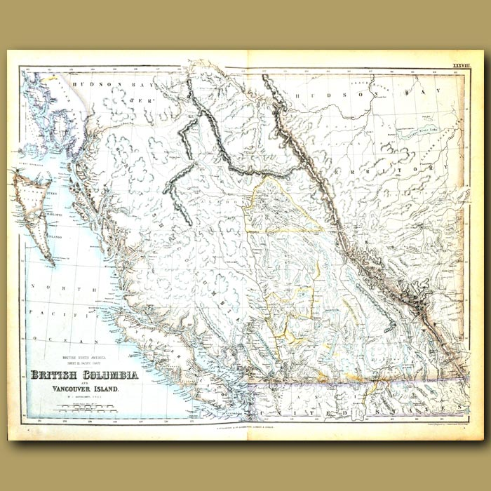 Antique print. Map Of British Colombia And Vancouver Island