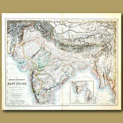 Map Of India, Ceylon (Sri Lanka), Tibet, Nepal