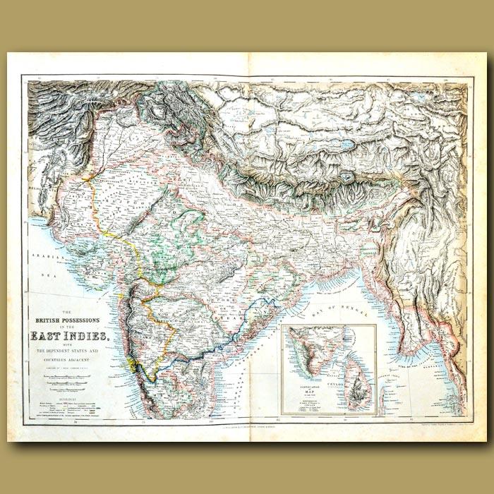 Antique print. Map Of India, Ceylon (Sri Lanka), Tibet, Nepal
