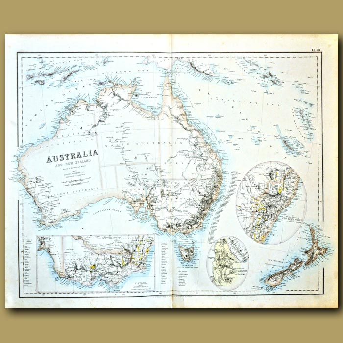 Antique print. Map Of Australia And New Zealand