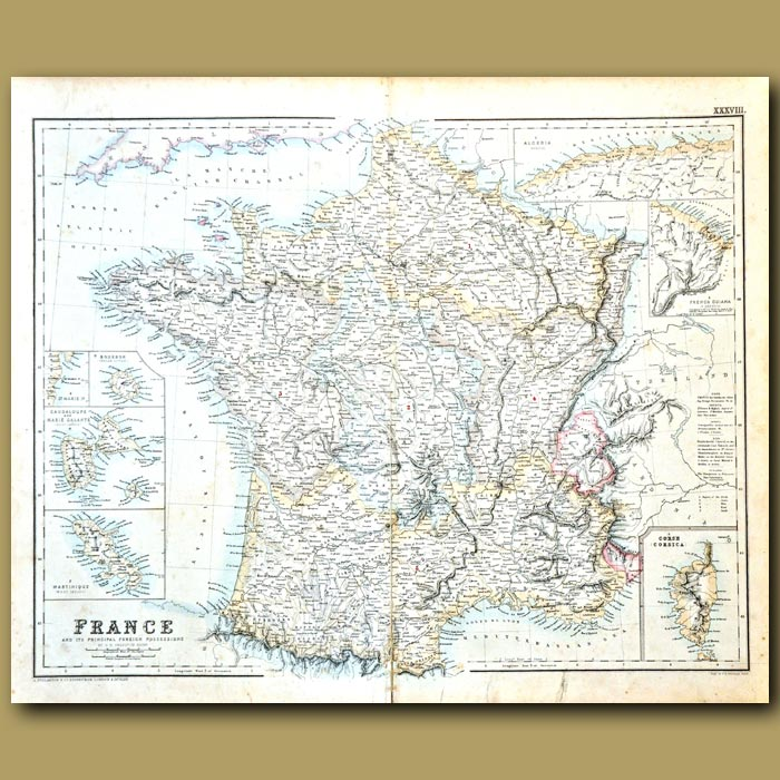 Antique print. Map Of France