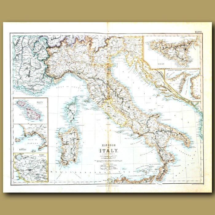 Antique print. Map Of Italy