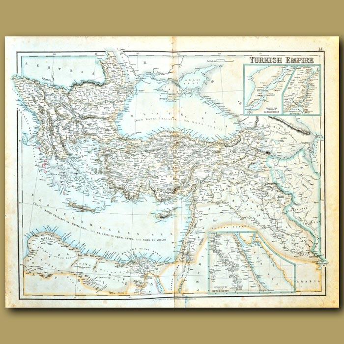 Antique print. Map Of Turkish Empire