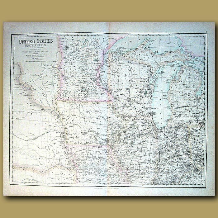 Antique print. Map Of North Central States Of Us
