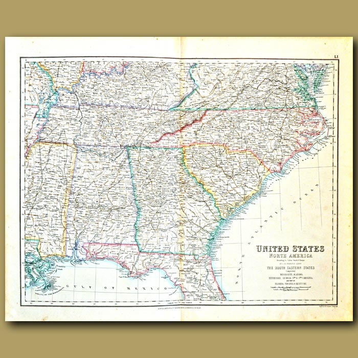 Antique print. Map Of South Eastern States Of Usa